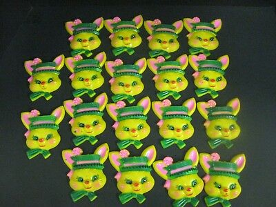 Lot Vintage Easter Hard Plastic Bunny Decorations Cake Cupcake Craft 18 PC LOT