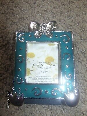 NIB ~ Sonoma Butterfly 2x2 Picture Frame, Blue-Green, Metal