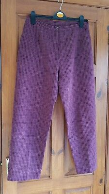 Vintage EWM Pure Classics burgundy red checked trousers 14 12