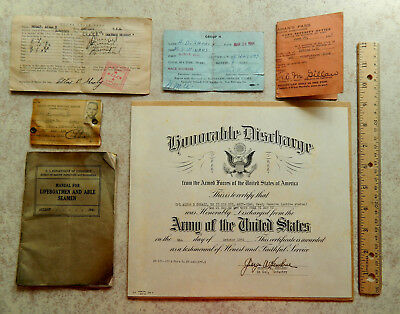 Vintage WWII Merchant Marine officer 1956 Honorable Discharge shore leave paper