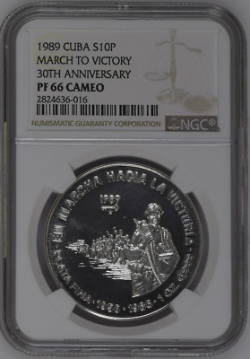Silver 10 pesos 1989 MARCH to VICTORY 30th ANNIVERSARY  NGC PF66 CAMEO