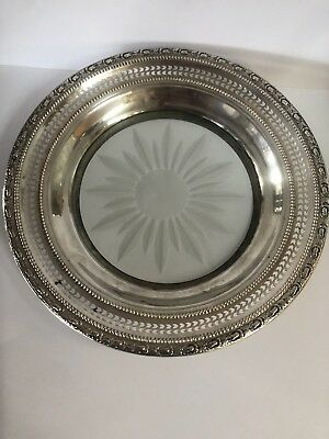 Vintage Frank Whiting Talisman Rose Cut Glass Wine Coaster Sterling Silver