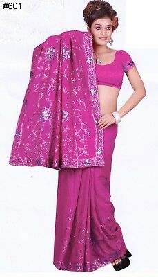 Saree 601 Purple Georgette Party Wear Sari Shieno Sarees