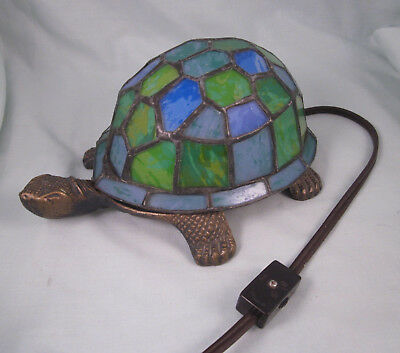 Turtle Lamp Night Light Bronze Painted Glass Shell Blue Green Table Nightlight
