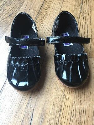 L'Amour Black Patent Flat Mary Jane Shoe Style 509 Youth Girl Sz 8 VGUC