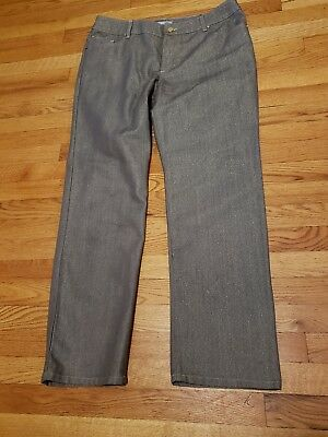 Chico's Platinum Metallic Style Silver Shiny Jeans Size 3 New