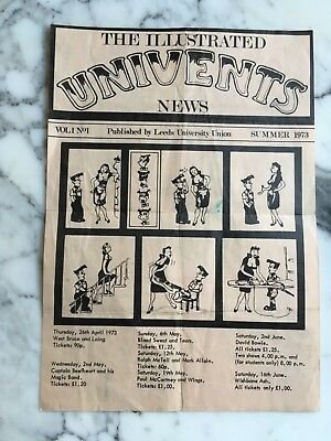 Paul McCartney and Wings 1973 original Flyer for Leeds University concert. RARE