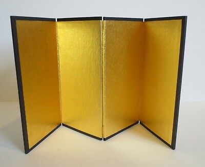 Vintage Traditional Japanese Hina Doll gold folding screen furniture kokeshi
