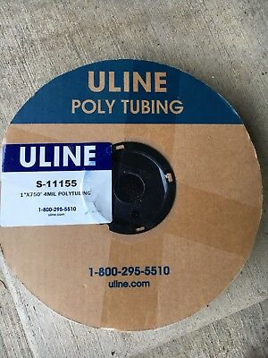 "1"" x 750' Clear Poly Tubing on a Roll 4 ML NEW Uline S-1155"