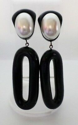 Vintage Statement/Runway Clip Earrings by Jewellians Black w/Pearl Center