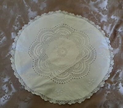 Vintage Crochet & Embroided Round Pillow Case
