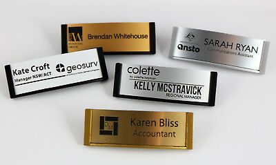 Name Badge Tag Curved Engraved 65Mm X 21Mm & With Magnetic Holder