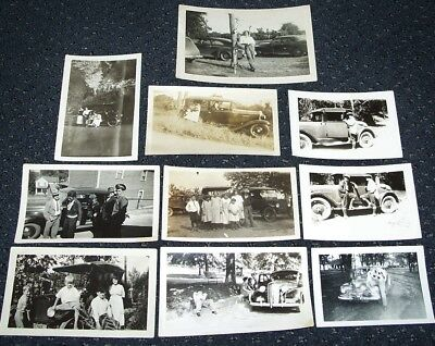 LOT OF VINTAGE 1920's - 1940's PHOTOS: PEOPLE + OLD CARS