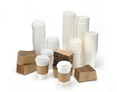 12 oz Disposable Coffee Cups With Lids Sleeves Hot Beverage Tea Cup Office Party