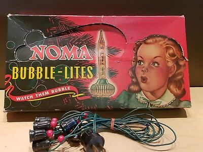 8 Vintage Royal Christmas Bubble Lites Lights Set in NOMA Box