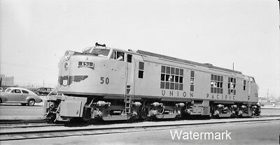 1949 UP 50-First GE Gas Turbine Engine Los Angeles Union Pacific Photo NEGATIVE