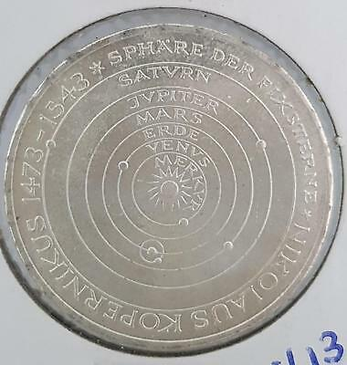 West Germany 5 Mark 1973 Silver Coin Copernicus Space Planet Excellent Shiny Unc