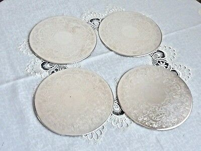Wonderful Art Nouveau Pattern Silver Plated Dinner Placemats Strachan Set Of 4