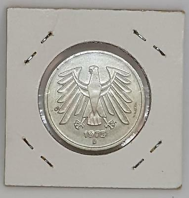 WEST GERMANY 5 MARK 1975 D SILVER COIN - EXCELLENT aUNC
