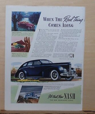 1939 magazine ad for Nash - When the Real Thing comes along, blue 2 dr. sedan