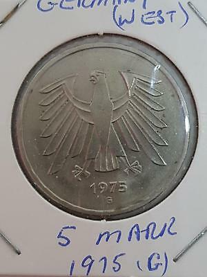 WEST GERMANY 5 MARK 1975 G SILVER COIN - EXCELLENT aUNC
