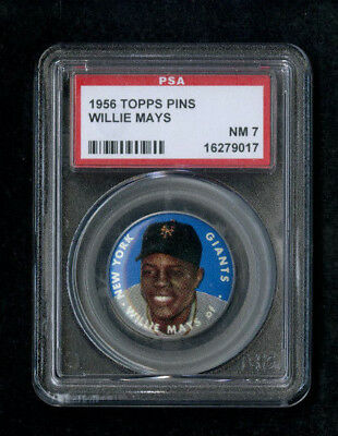 1956 Topps Pins WILLIE MAYS New York Giants PSA 7 NM - Looks Nicer! Tough Issue!