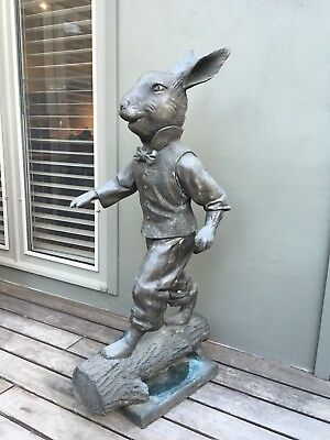 "DAVID BROMLEY ""Mister Rabbit on Log"" Large Bronze Sculpture, Signed"
