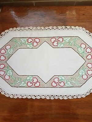 Vintage linen embroidered doily