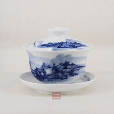 Hand painted Chinese Jingdezhen Blue & white porcelain gaiwan bowl tea cup 160cc