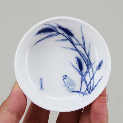Hand painted Chinese Jingdezhen Blue and White Porcelain Small Tea Cup 40cc