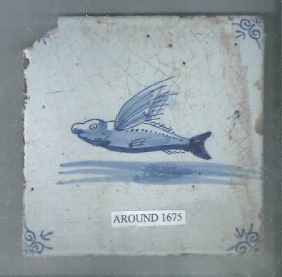 Antique Holland Delft Flying Fish Tile Around 1675