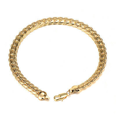 Fashion Jewelry New Womens Yellow Gold Plated Weave Chain Bracelet Wedding