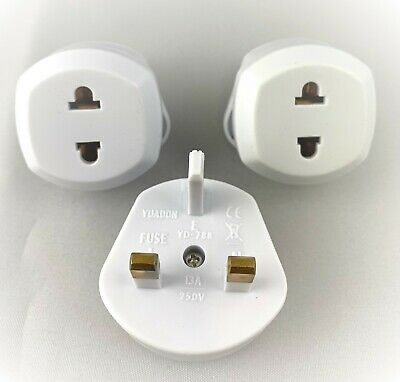 3x Quality US & UE 2 pin to 3 pin UK Travel Adapter Plug 250v AC 13amp WHITE UK