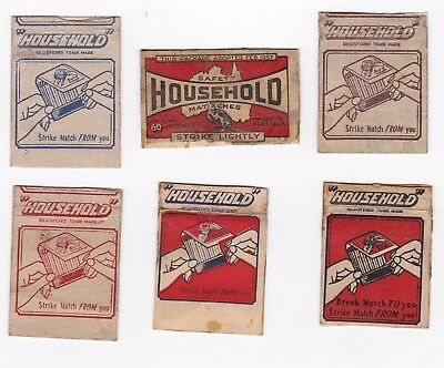 """Six different Vintage  Australian """"HOUSEHOLD' match book & box covers."""