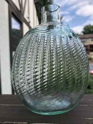 PITKIN HALF PINT MIDWESTERN PONTILED FLASK, Swirled & Ribbed, Fine Condition!