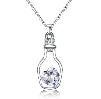 8 x Pieces Of Clear Heart In A Bottle Necklaces Wholesale Joblot Jewellery A
