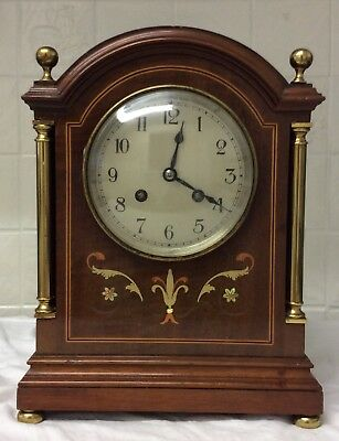 A French Mantle Clock With Inlay With Brass Pillows And Feet ++Working Order ++