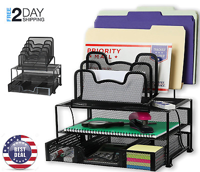Mesh Desk Organizer with Sliding Drawer,Double Tray & 5 Stacking Sorter Sections