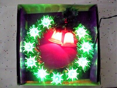 Vintage Christmas Lighted Wreath With 2 Red Bells Box