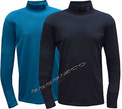 New Mens 100% Cotton Turtle Neck Top Baselayer Winter Golf Top M - 3XL