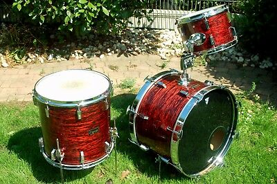 "Sonor ""The Swinger one"" Rot geschiefert - 13/16/22 Kesselsatz - Vintage Drum"