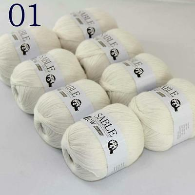 Sale 8 Skeins Super Pure Sable Cashmere Scarves Hand Knit Wool Crochet Yarn 01