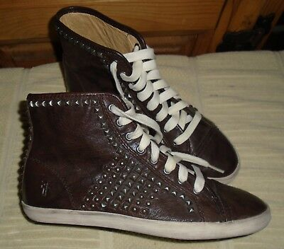 FRYE Brown Leather Studded KIRA Biker High Tops Sneakers/Shoes EUC 6.5M