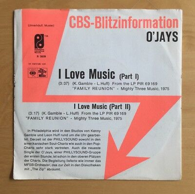 "O'JAYS I Love Music Vinyl Single 7"" CBS Blitzinformation 1975 Promo Phillysound"