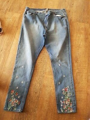 Dorothy Perkins Skinny Blue Jeans With Embroidery Detail Size 22 Tall