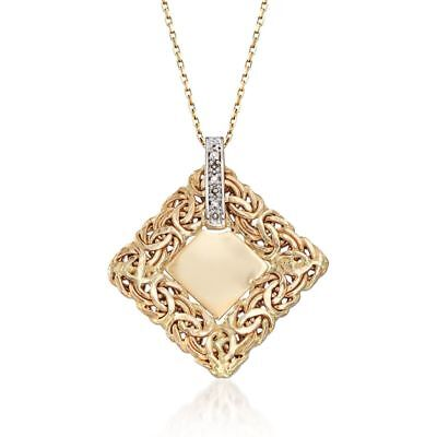 Single Initial Diamond Byzantine Pendant Chain Real Solid 14K Yellow Gold