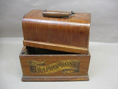 Columbia Graphophone Cylinder Phonograph Player Oak Wood Case Only For Restore