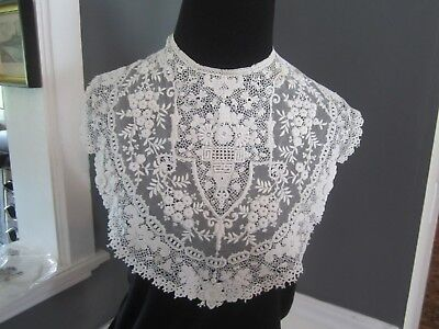 Antique lace collar/dress front..floral beauty..Victorian textiles needlework
