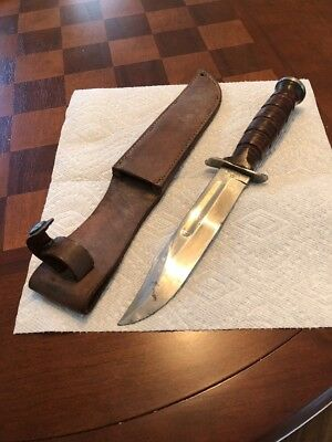 U.S Camillus Military Fighting Knife W/Leather Case Beautiful Condition