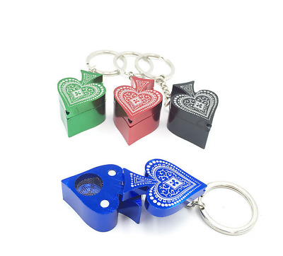 1PC Portable Mini Metal Poker Heart Tobacco Herb Pipe Smoking Pipes Key Chain